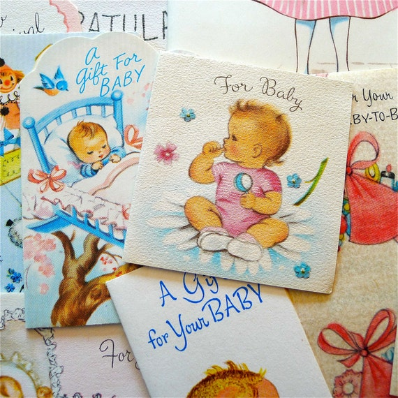 Vintage 1950's Baby Shower Greeting Card Collection of 19