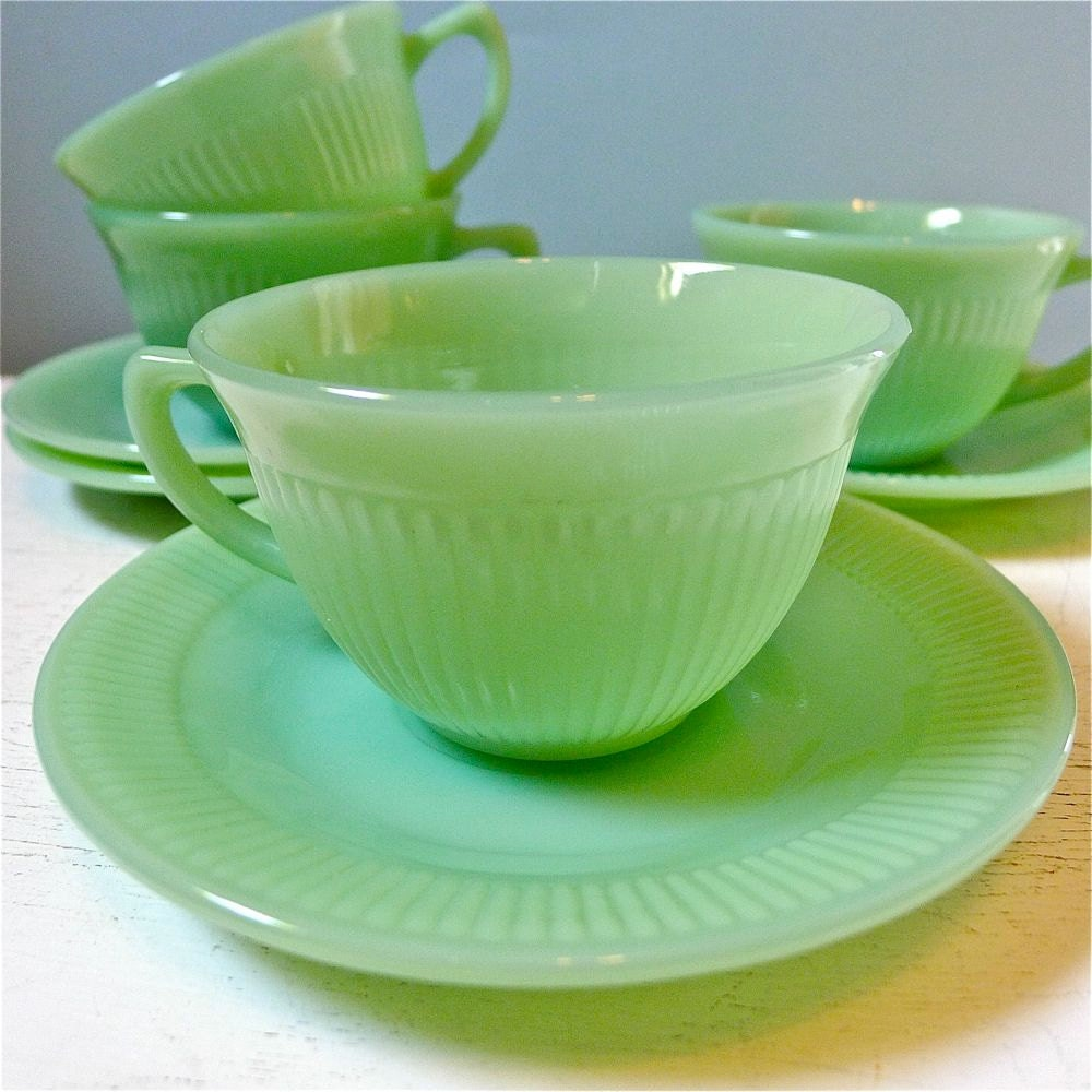 Vintage Fire King Jadite Jadeite Jane Ray Cups And Saucers Set