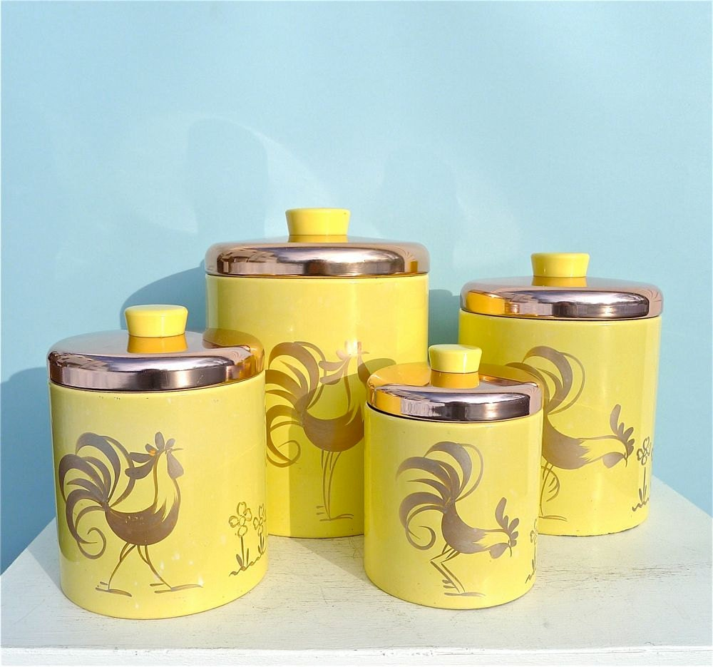 Vintage ransburg yellow rooster canister set for Kitchen set yellow