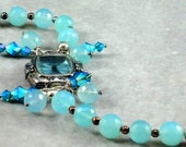 Blue Watchface, Blue Quartz Gemstones, Swarovski Crystals, Sterling Silver Beads
