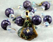 Hand Painted Petunia Pendant with Semi Precious Necklace