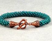 Teal, Kumihimo Bracelet, Copper, Heart Toggle Clasp, Bead Weaving