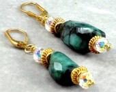 Emerald Earrings, Swarovski Crystals, Gold Vermeil, Dangle Earrings, May Birthstone