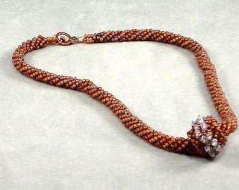 Topaz Seed Bead Necklace, Statement Necklace