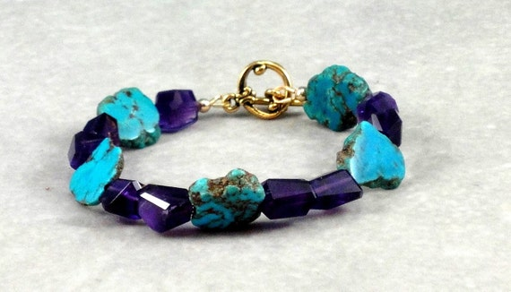 Stabilized Turquoise, Amethyst Bracelet, Antiqued Gold, Toggle Clasp