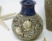 Blue Sea Inspired Textured Round Vase with Shells