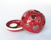 Ceramic Love Wedding Decor large Candle Holder Clay Red Heart Handmade Pottery Candileria Luminary Favor