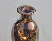 Gold Copper Ceramic wheel thrown bottle Crackle Vintage inspired Wedding Gift handmade pottery metallic golden modern home decor