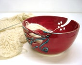 Red KNITTING Yarn Crochet Bowl Large Handmade Ceramic Pottery Twisted Leaf