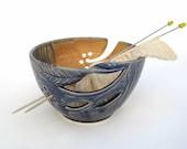 LARGE Handmade KNITTERS Pottery Yarn Knitting Bowl - Spring Creek - twisted leaves wedding stoneware gift