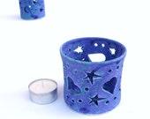 Blue Heart ceramic pottery Candleholder Mothers Day Decor Puple Stars and Heart Velvet Candileria Candle holder Romantic Gift