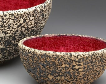 Red Geode Large Serving Bowl, Modern Porcelain Rustic Textured Home Decor white Handmade dining Entertaining Housewares