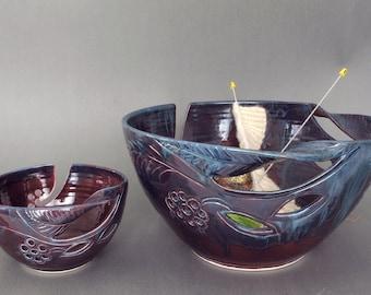 Yarn bowl JUMBO, Extra Large, Stoneware Yarn Knitting Bowl Handmade Pottery Blue Purple Lavender Blush with twisted leaves -- MADE to ORDER