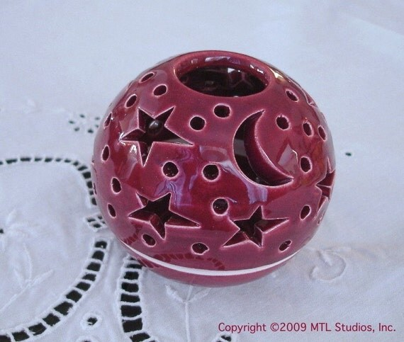 Pierced Candle Holder Wedding favor Star Moon Candleholder Votive Candileria / Handmade Ceramics Pottery / Casts Moving Shadows