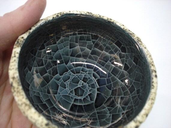 Mini Geode Bowl / Smokey Grey Black wheel thrown handmade pottery earthy shabby chic texture spring rustic gift