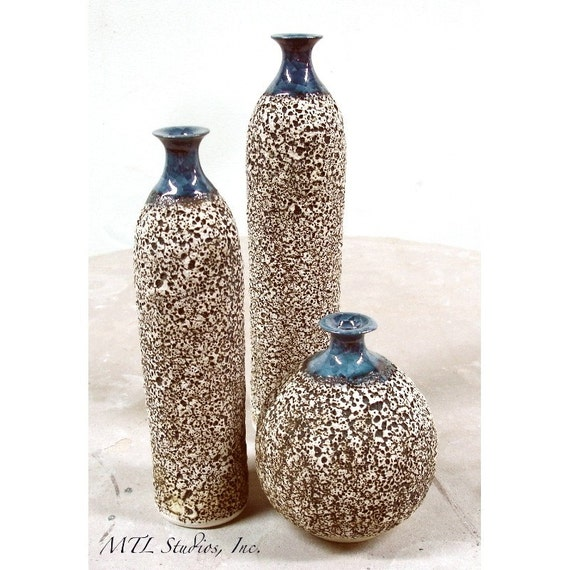3 Wheel thrown Bottle Vase Vessels Pottery, Modern Metallic Glaze, Handmade ceramic bottles