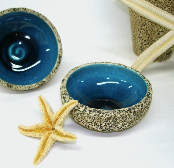 Geode Ring Holder Dish Handmade Ceramic Bowl Rock Mini series / Blue Decorative Modern pottery white Textured Valentine's Gift IN STOCK