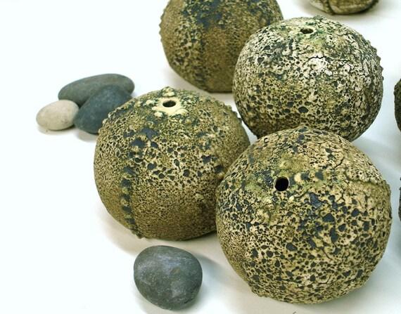 Textured Green Sea Urchin Pot, Sculpture, Beach Nautical Decor, Round Geometric, Handmade Pottery