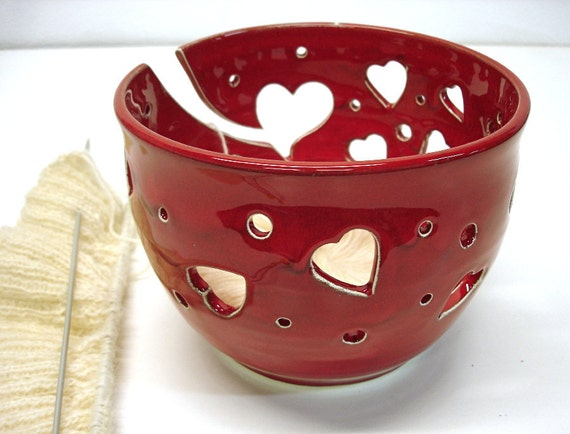 Yarn Bowls, Crochet Bowl, Red Heart Knitters Yarn Bowl,  Father's Day, Large 7-8 Inch Bowl