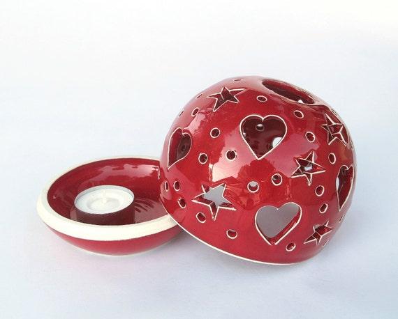 Ceramic Love Wedding Decor large Candle Holder Clay Red Heart Handmade Pottery Candileria Luminary Favor