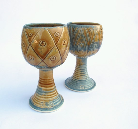 Porcelain Wine Goblet, Honey Dipped Amber Geometric Designs Handmade Housewares Ceramic pottery serving cup rustic