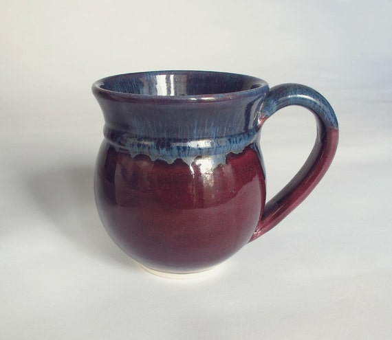 Wheel thrown coffee mug Eggplant Purple Unique Tea cup Pottery stoneware coffee mug kitchen housewares ooak Handmade Ceramics