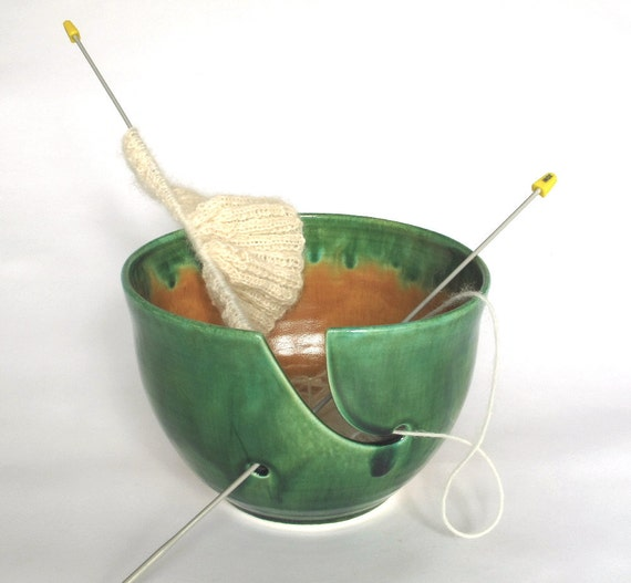 With a twist of Lime Green Yarn Wool Organizer Yellow Green Highlights LARGE KNITTING Bowl pottery twisted leaves wedding gift