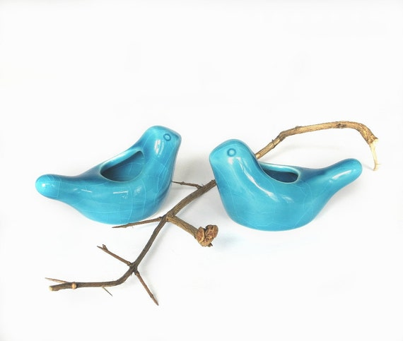 TWO Ceramic Birdies candle holders / air plant planter HolidaysTable Setting Cottage Decor Blue Turquoise modern fresh home IN STOCK