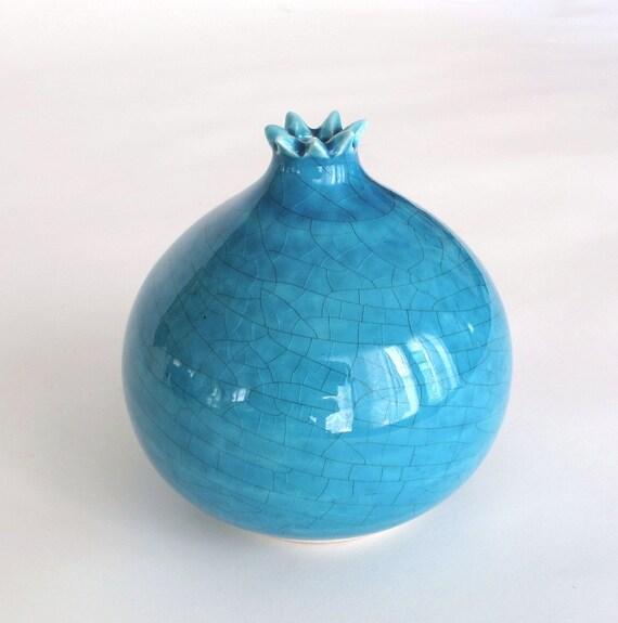 Ceramic bud vase Pomegranate, Robin's egg blue turquoise Modern Pottery Minimalist, Mother's day gift, teacher gift, Handmade Clay Ceramics
