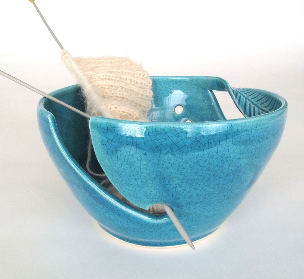 Yarn Holder Knitting Pattern : BlueRoomPottery Yarn Bowl Knitting yarn holder by ...