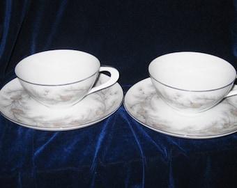 Sango Sierra Pines Teacups & Saucers(4 pieces)