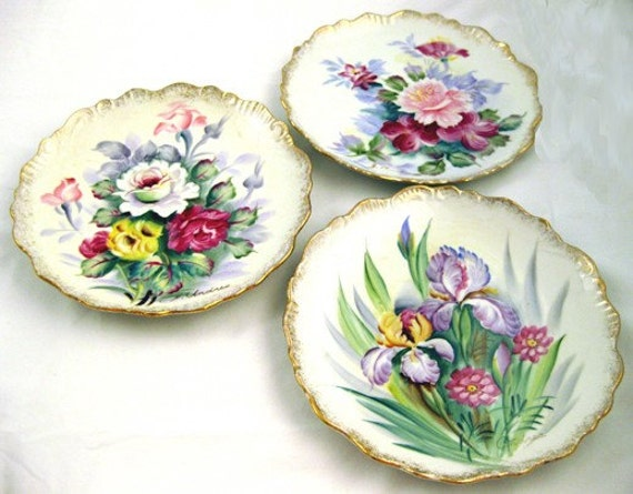 ANDREA BY SADEK HAND PAINTED FLORAL PLATES SIGNED LOT OF 3