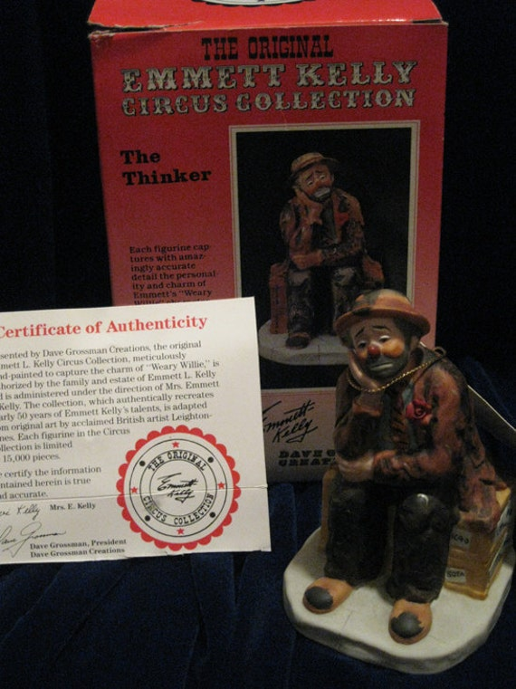 Emmett Kelly Clown Figurine Circus Collection -The Thinker-With Original box & COA