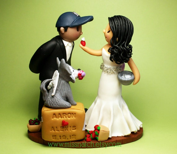RESERVED for wheatieb - Traveler Couple, Cooking Bride & Football Fans Wedding Cake Topper