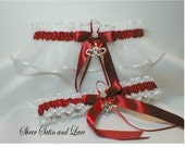 Double Heart Scarlet / Apple Red And White Wedding Garters