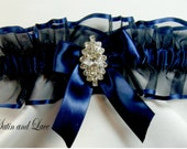 RHINESTONE Wedding garters Navy Blue Garter