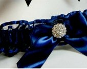 Prom garter RHINESTONE Wedding garters Navy Blue Garter