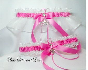 DOUBLE HEART Wedding garters Hot Pink Garter set