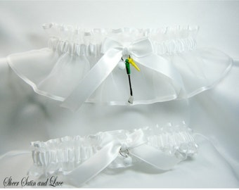 GOLF wedding garters White Golfing garter set