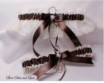 DOUBLE HEART Wedding garters Brown Ivory Lace Garter