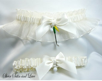 GOLF wedding garters IVORY Golfing garter set sports garters