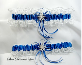 WINTER SNOWFLAKE Wedding Garters Royal Blue and Silver Garter set