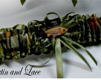 Toss Fishing Camouflage wedding garters FISH CAMO garter Moss