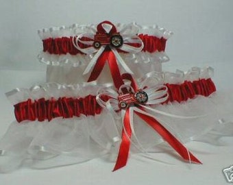 Red Farm Tractor wedding garters on white garter