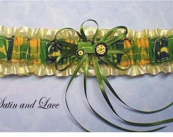 Toss Green Farm Tractor wedding garter farmers garter