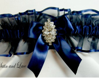 RHINESTONE Wedding garters Navy Blue Garter