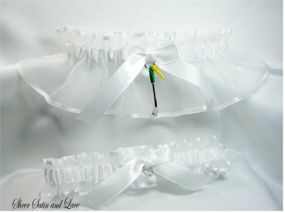 GOLF wedding garters White Golfing garter set