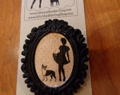 CUSTOM For koalakimmy0 A Girl and Her 2 Dogs, two Boston Terriers Silhouette Black Pin Brooch, My Significant Other...