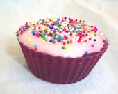 Black Cherry Cupcake with Warm Vanilla Sugar Frosting and Candy Sprinkles On Sale