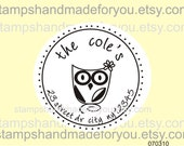 Custom  owl Personalized ROUND SELF INKING Return Address Rubber Stamp -cute wedding or christmas gift
